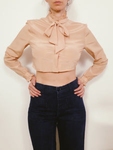 Transformed Vintage Top - Cropped and Opened Back - Size Medium