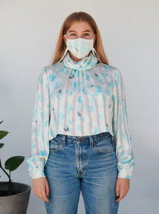 "Mask + Top Upcycled Vintage Blouse - Transformed Zero Waste Fashion - ""Masking For A Friend"""