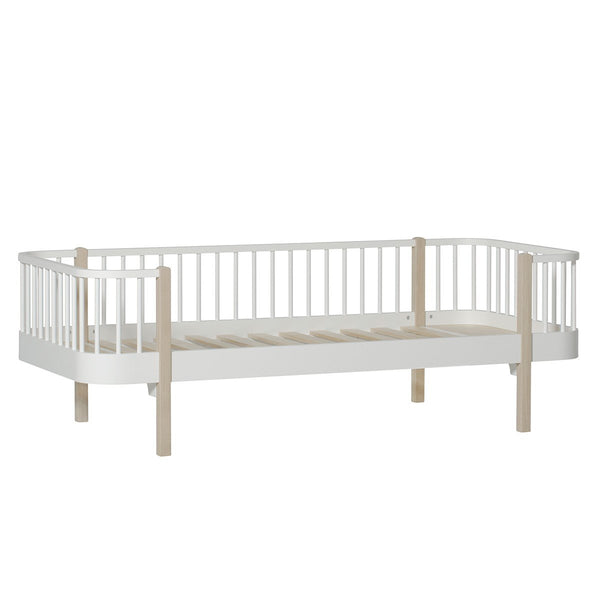 Wood Day bed, 90x200 cm, white/oak