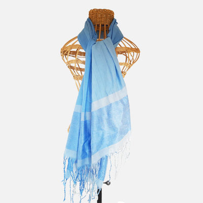 SHAWLS -100% COTTON - LIGHT BLUE