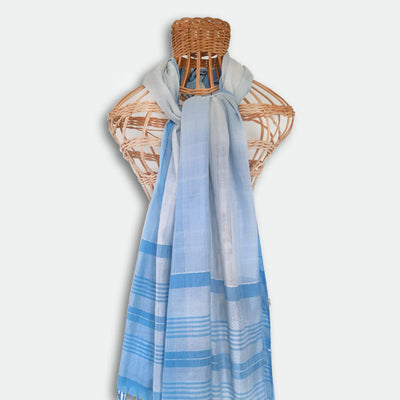 SHAWLS -70% SILK 30% COTTON - BLUE