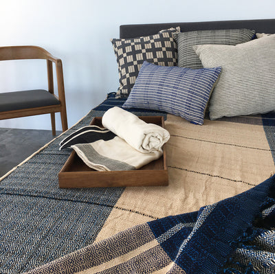 Bed Spread HL Blue & Beige Stripes
