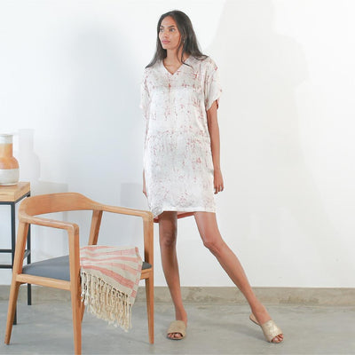 Two Tone Silk Batik Tee Dress