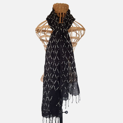 BATIK SHAWL LINEN DIAMOND BLACK