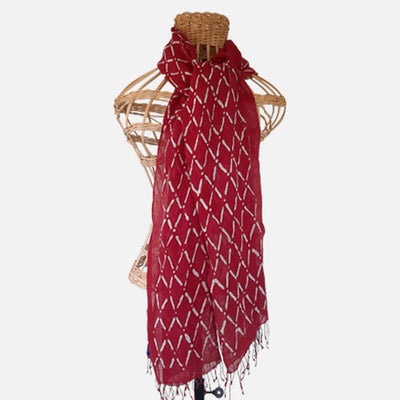 BATIK SHAWL LINEN DIAMOND CHERRY RED