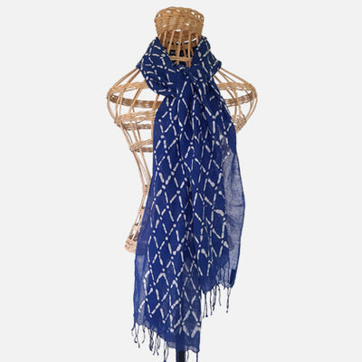 BATIK SHAWL LINEN DIAMOND NAVY