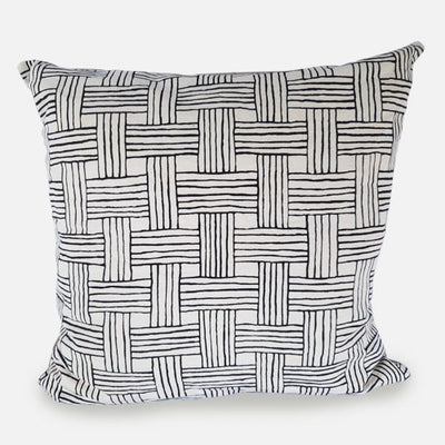 SCREEN PRINTED BASKET WEAVE CUSHION COVER 20X 20 - GREY
