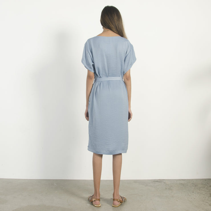 Pale Blue Boat Neck Dress
