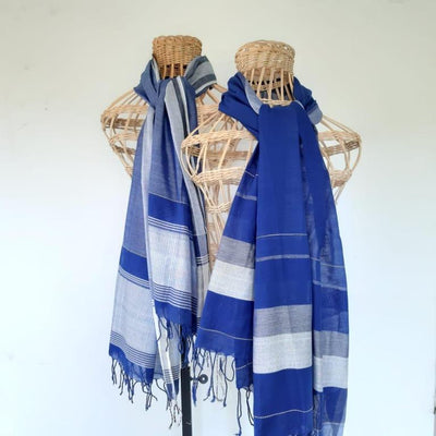 Ridi Iri Navy shawl 70% cotton 30% silk