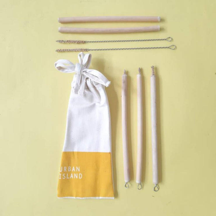 Bamboo straws with brushes X 5