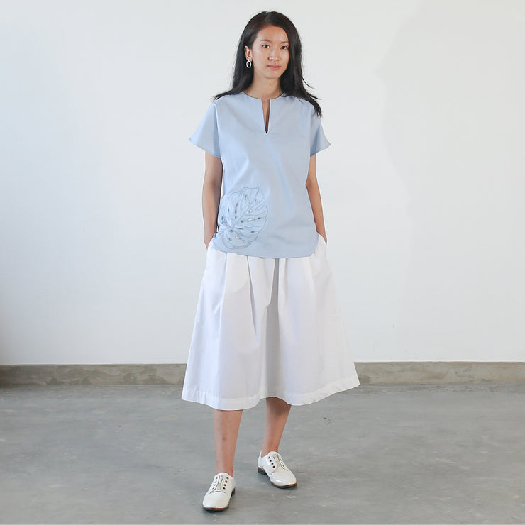 Crop Maxi Tee- Light Blue