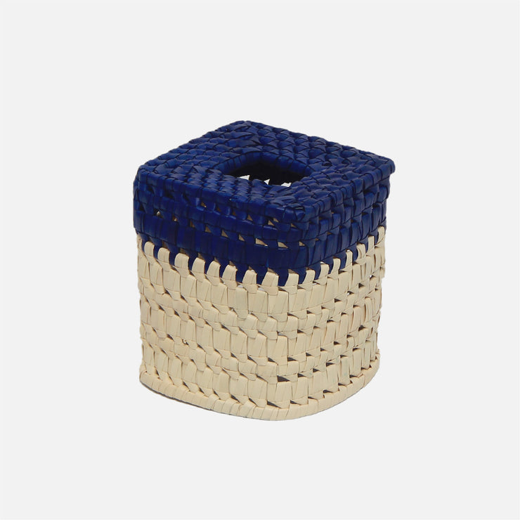 Tissue Box -Square Blue/Natural