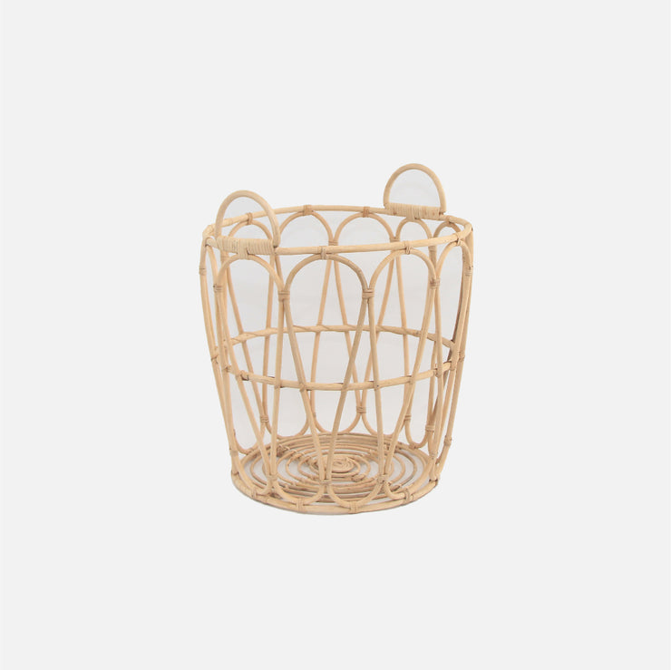 Cane Waste Paper Basket with Handles Medium