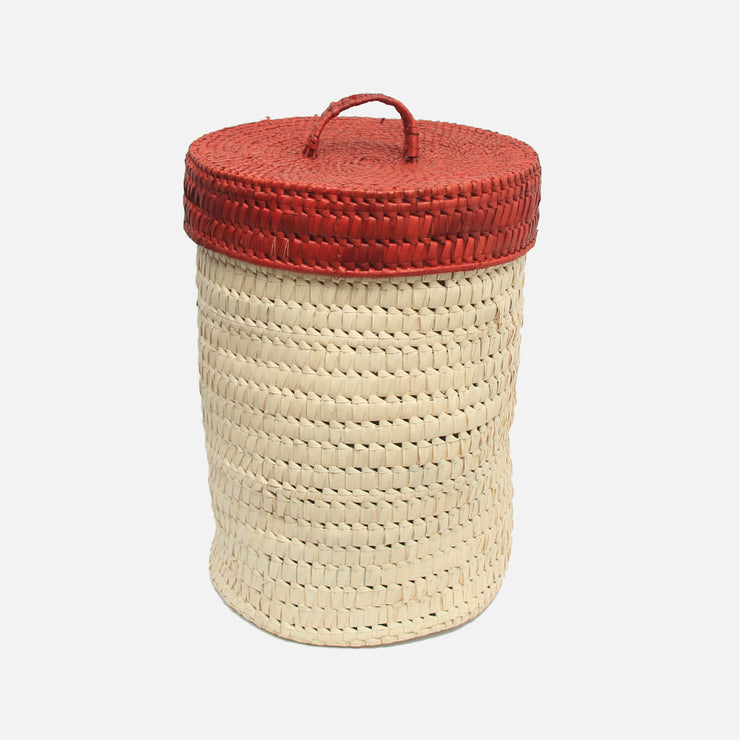 Palmyra Laundry Basket Natural / Red
