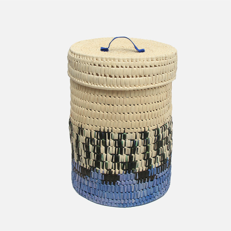 Palmyra Laundry Basket Black/Natural and Mauve B