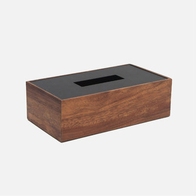 Mina Rectangular Tissue Box Wood/Black