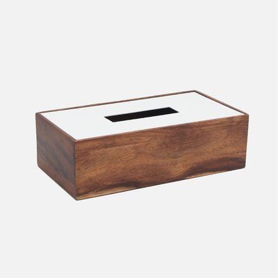 Mina Rectangular Tissue Box Wood/White