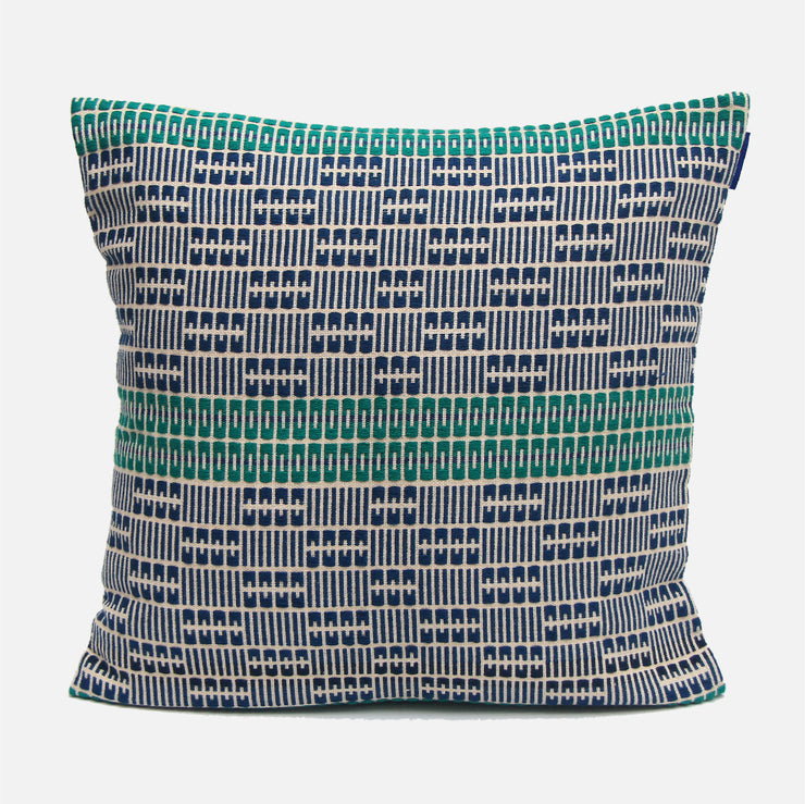Delft Navy and Green Cushion Cover