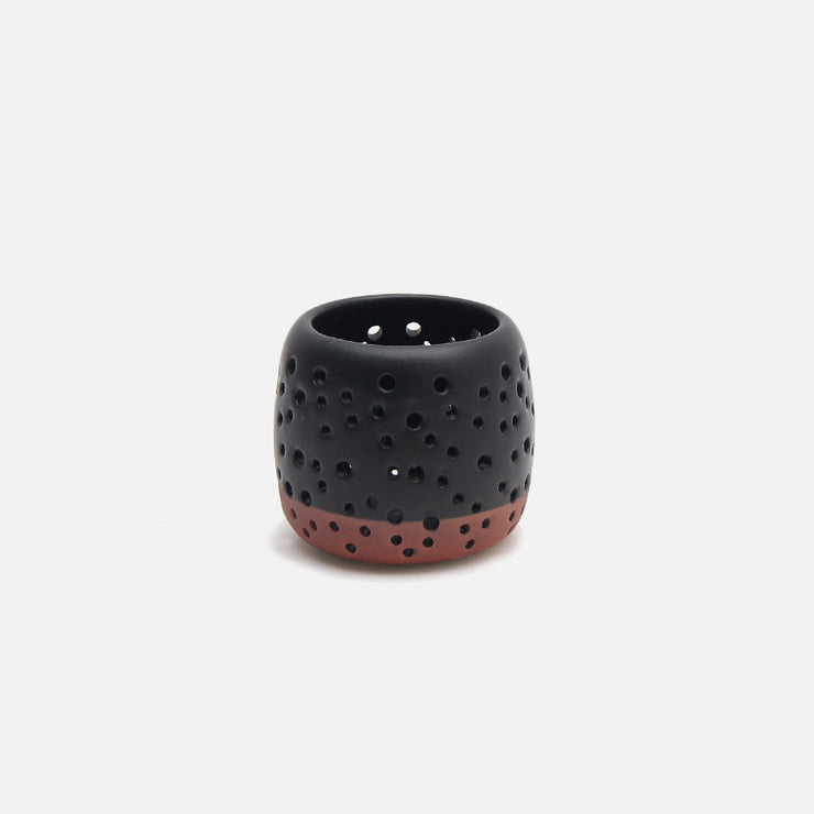 Tea Light - Matt Black with Terracota Base