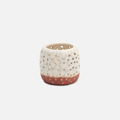 Tea Light - White Crackle with Terracota Base