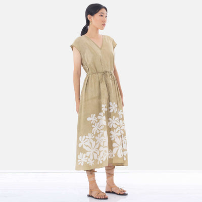 Araliya Flower Batik Beige Dress