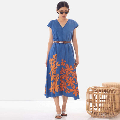 Araliya Flower Batik Blue Dress