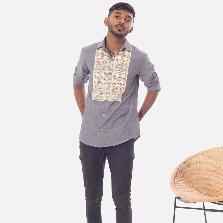Chambray And Beeralu Lace Unisex Shirt