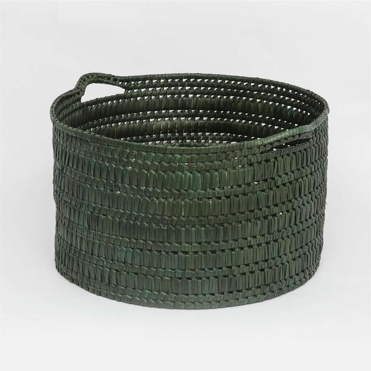 Circular basket with handles  wide L  dark green