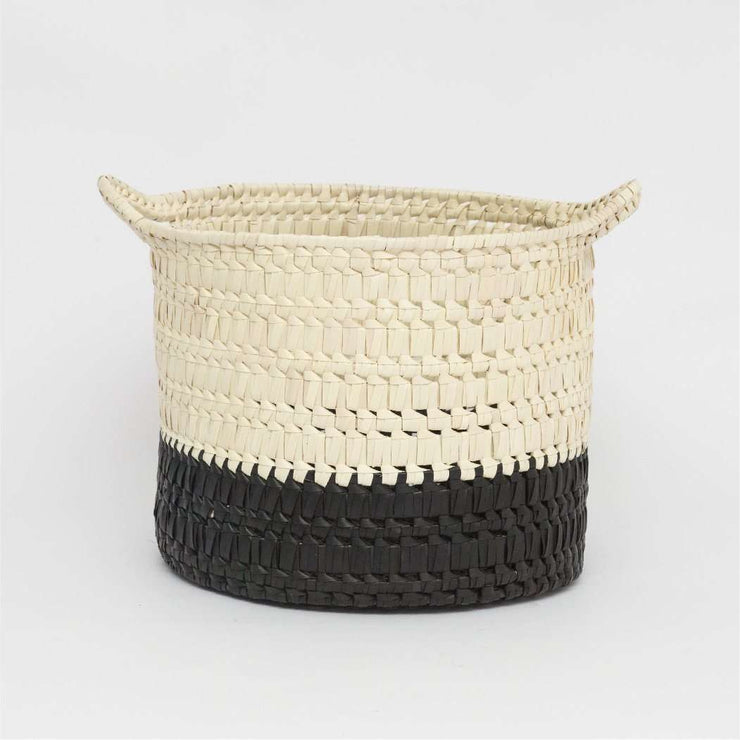 Circular basket with handles S black/natural