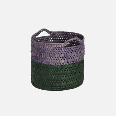 Circular Basket with Handles S  Green/Mauve