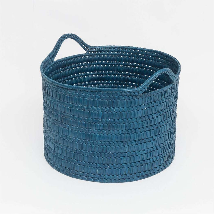 Circular Basket With Handles Wide L Blue