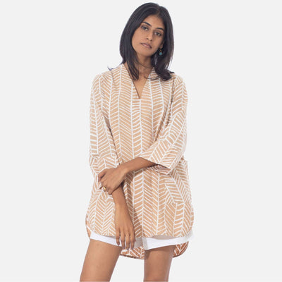 Fishbone Batik Beige Tunic Top