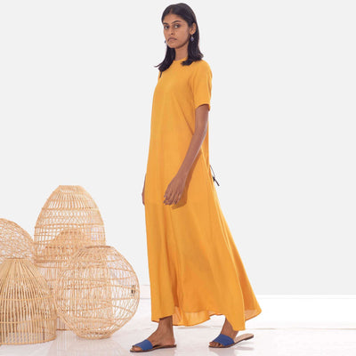 Fluid Saffron Tunic Dress