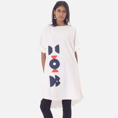 Graphic Applique Tunic Dress