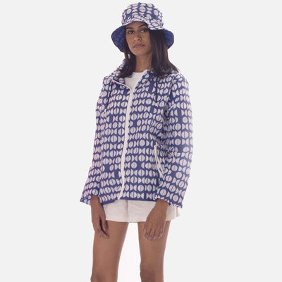 Graphic Unisex Rain Jacket- Blue