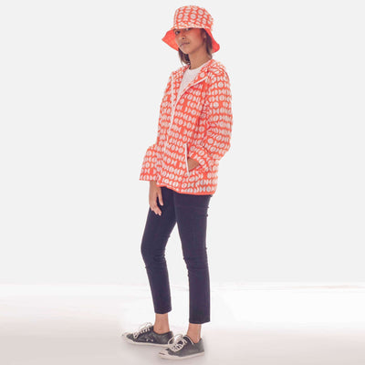Graphic Unisex Rain Jacket- Orange