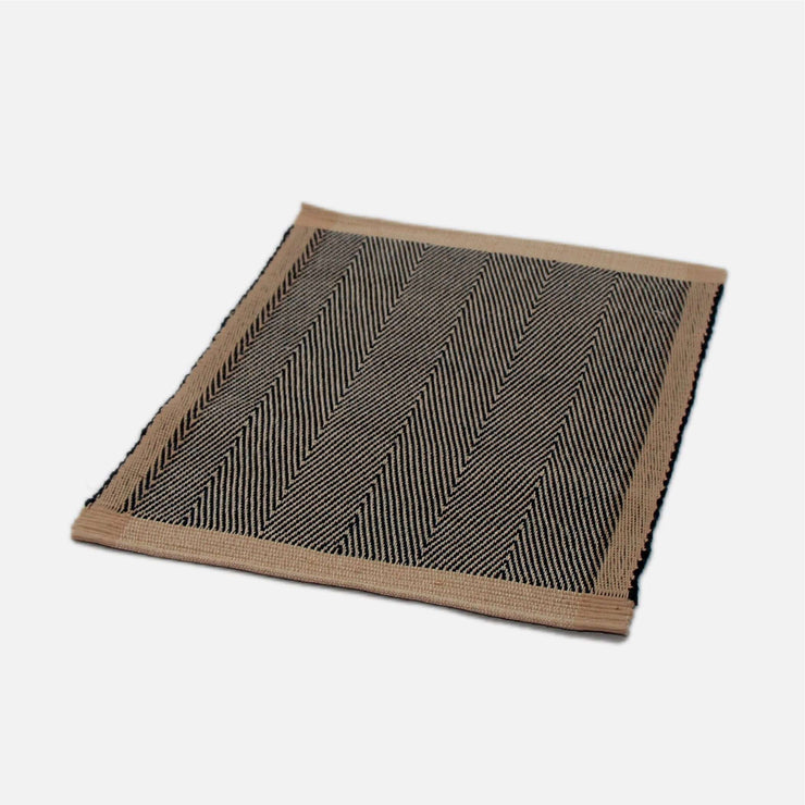 Handloom Placemat Jute and Black Twill