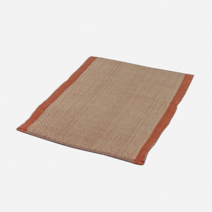 Handloom Placemat Rust Orange and Pearl White Twill