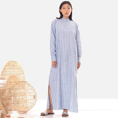 Linen Light Blue Striped Tunic Dress