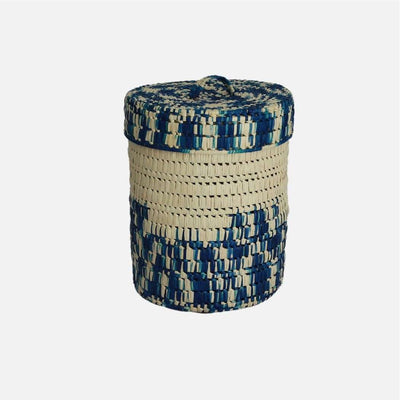 Palmyrah Laundry Basket Blue/Natural