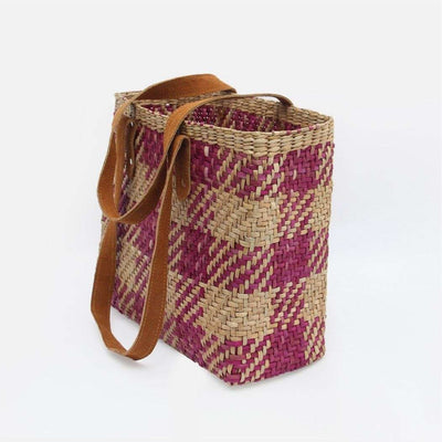 Pung Bag Natural and Pink Plaid