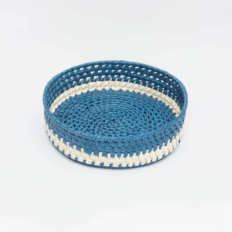 Round Bread Basket M Blue/Natural