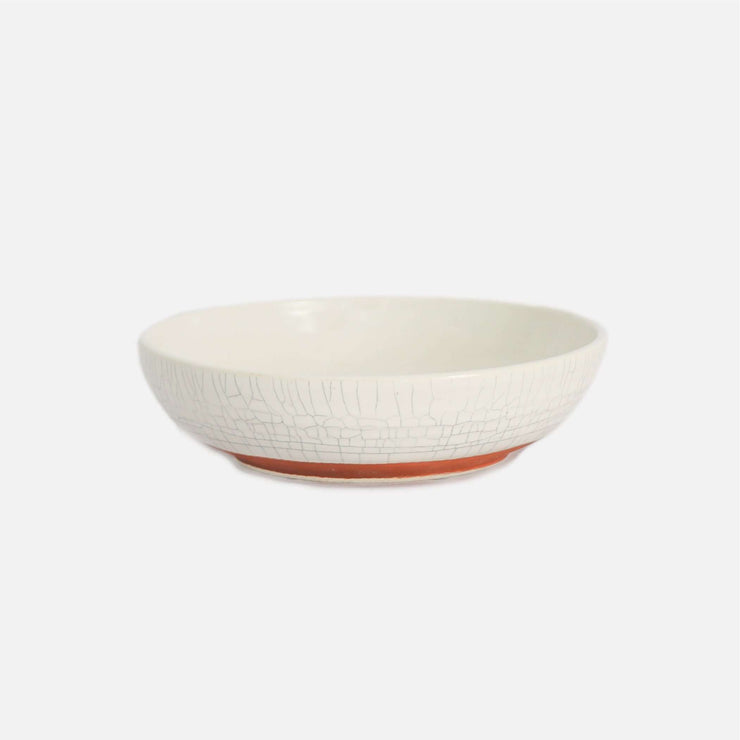 Shore Pasta Bowl White Crackle with Terracota Base