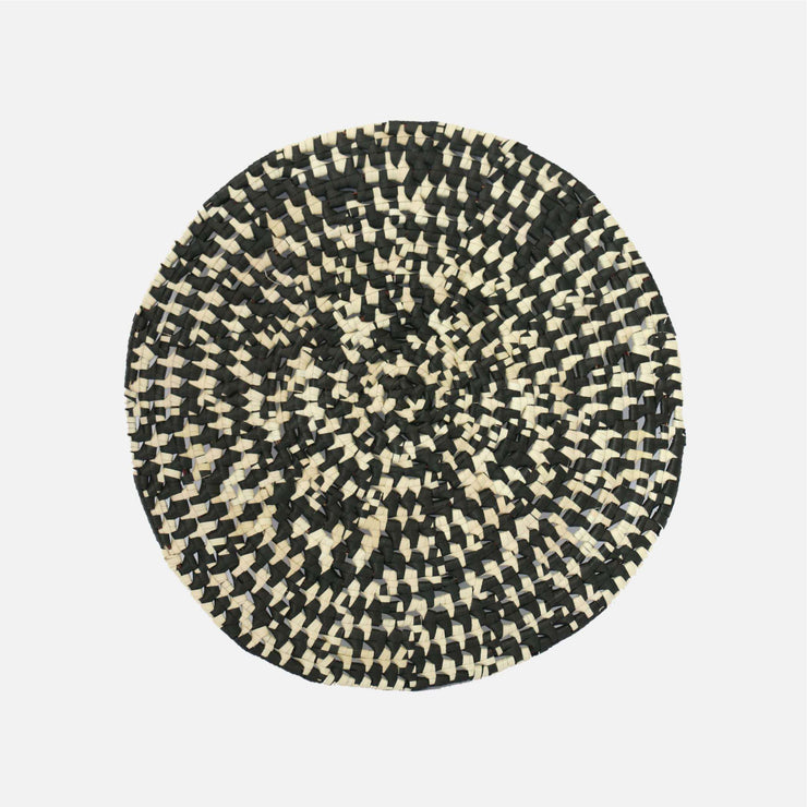 Speckle Round Palmyra Placemat Natural/Black