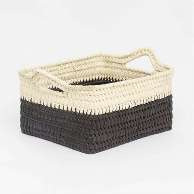 Storage basket with handles M black/natural