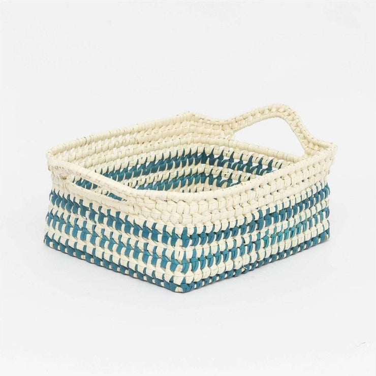 Storage Basket With Handles S Blue Natural