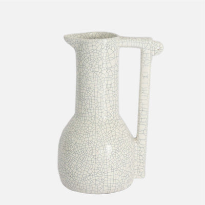 Tall Bird Pitcher White Crackle