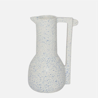 Tall Bird Pitcher White/Blue Speckle