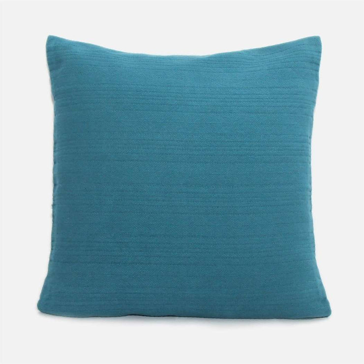 Weave solid dyed teal cushion