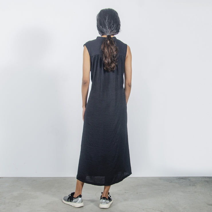Black Sleeveless Shirt Dress
